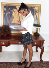 Hot ebony Jayden spreads her pink slit on her desk at AllOver30